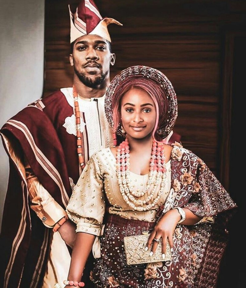 DJ Cuppy and Anthony Joshua photoshopped traditional wedding photo