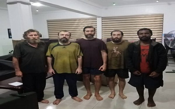 The foreigners after they were rescued