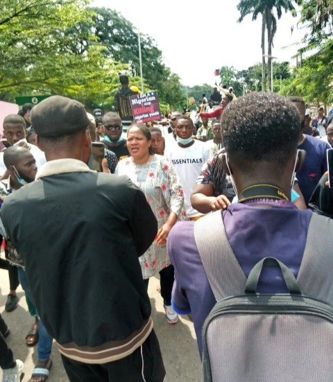 Toyin Abraham leads protest in Ibadan