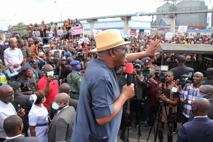 Wike addressing protesters yesterday
