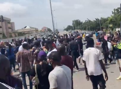 Youths protesting in Abuja today