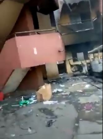 Lagos Secretariat burnt by hoodlums