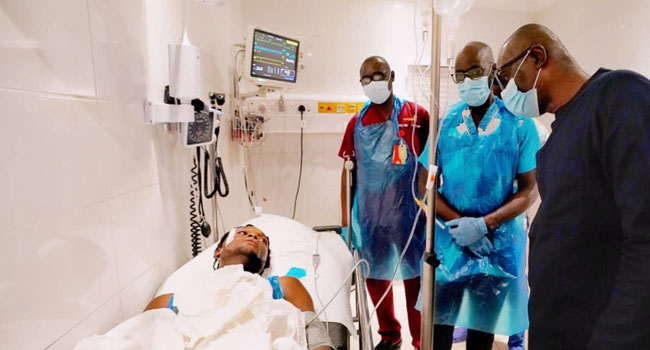 Governor Babajide Sanwo-Olu visits a victim shot by security operatives