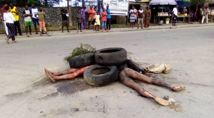 Horror As Mob Sets Two Suspected Robbers Ablaze In Calabar