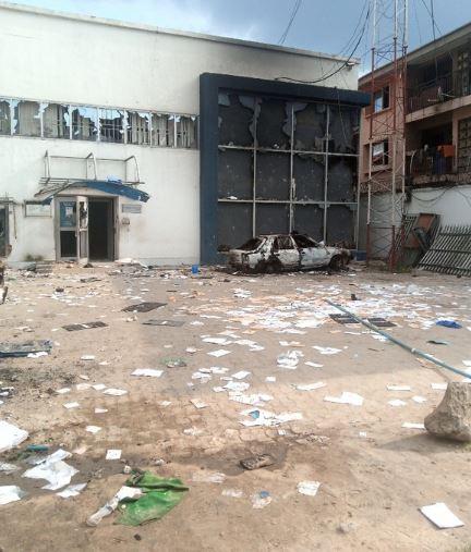 Hoodlums destroyed properties belonging to the bank