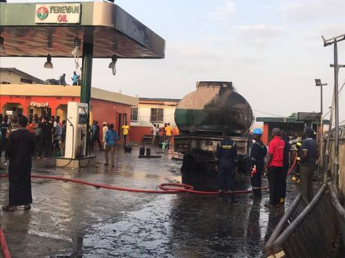 The station gutted by fire in Lagos