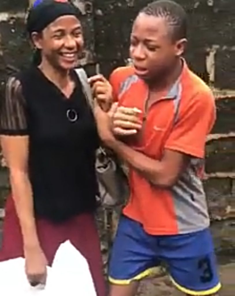 The boy crying as he begs his mother to give back money she borrowed from him