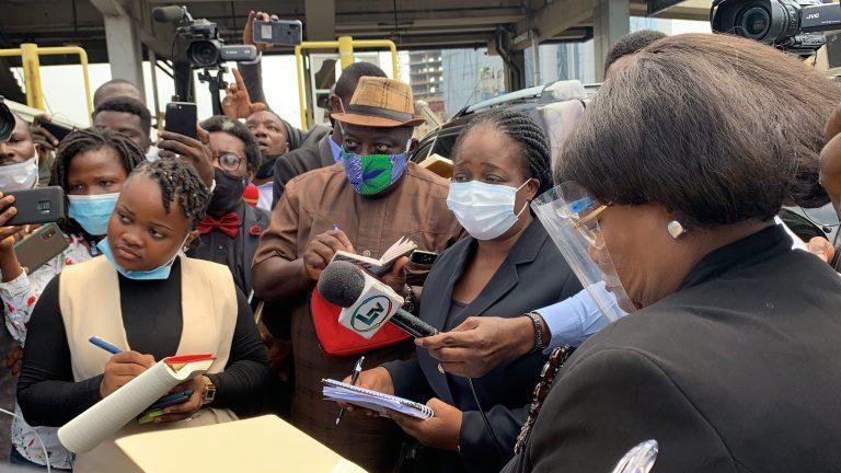 Lagos Judicial Panel members at the scene of the shooting