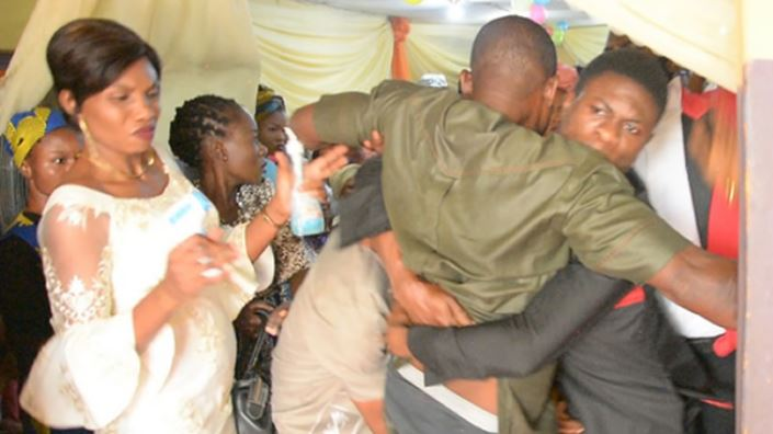 The man stormed the church to disrupt his wife's wedding to another man