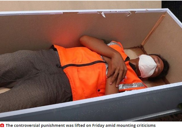 People forced to lie in a coffin for disobeying facemask rule