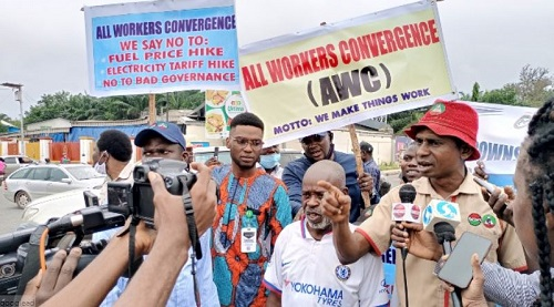 Protesters in Ibadan today