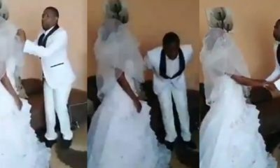 The groom began speaking in tongues after being told to kiss his bride