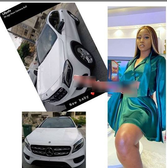 Actress, Lilly Afegbai shows off her new car