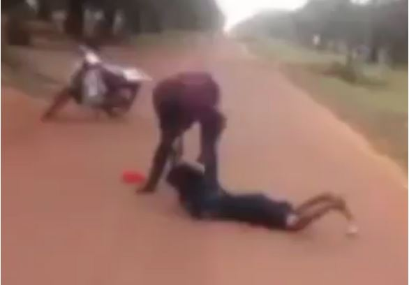 man beats woman