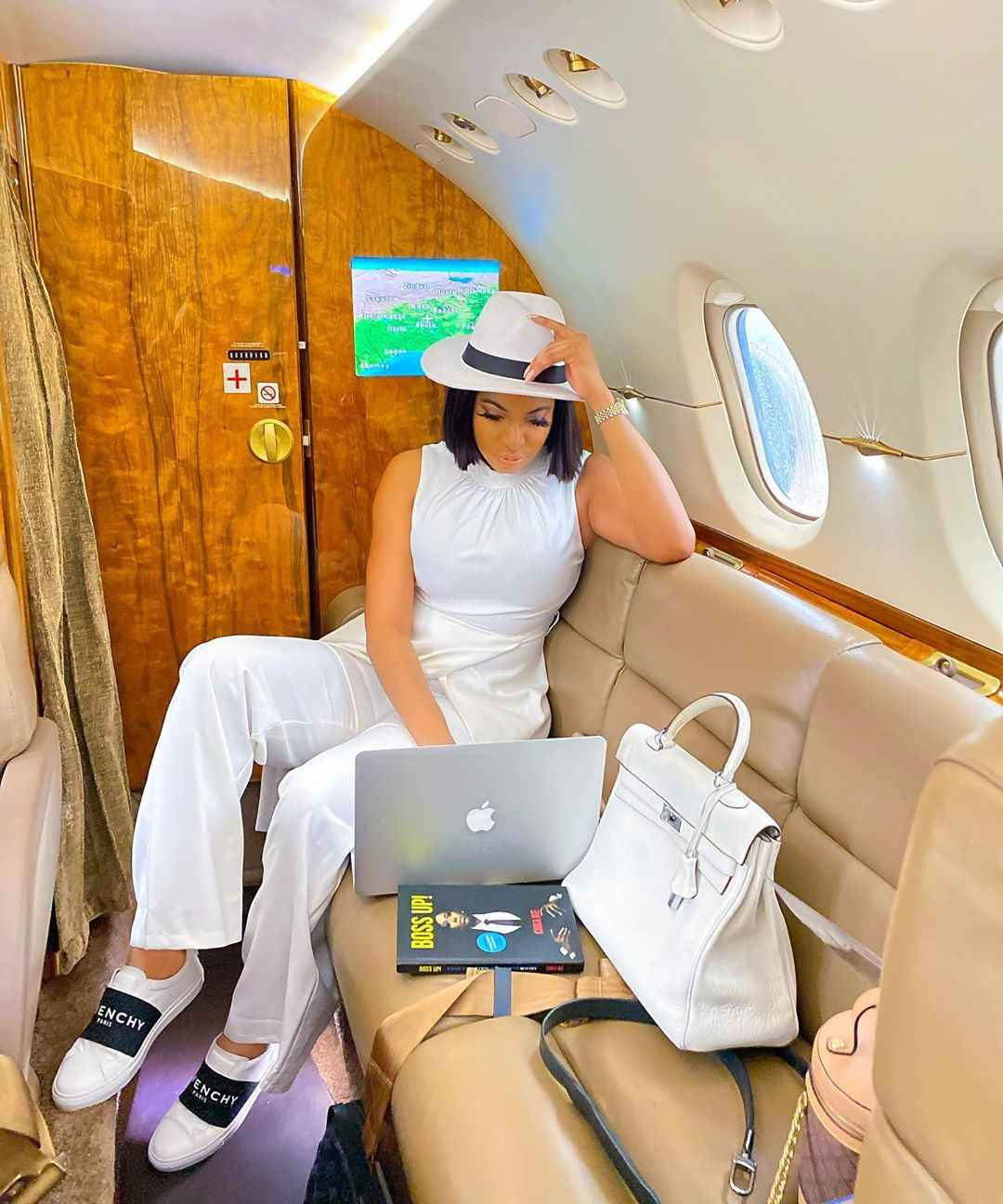 Chika Ike wows inside private jet