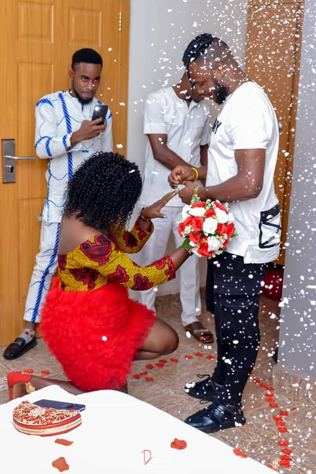 Adaeze Gift Okolie went on her knees to accept her boyfriend's marriage proposal