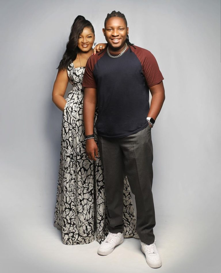 Omotola and his all grown up son, Captain E