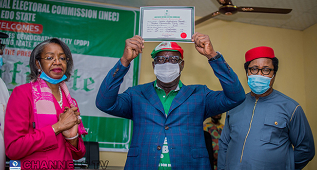 Obaseki receives his certificate of return from INEC