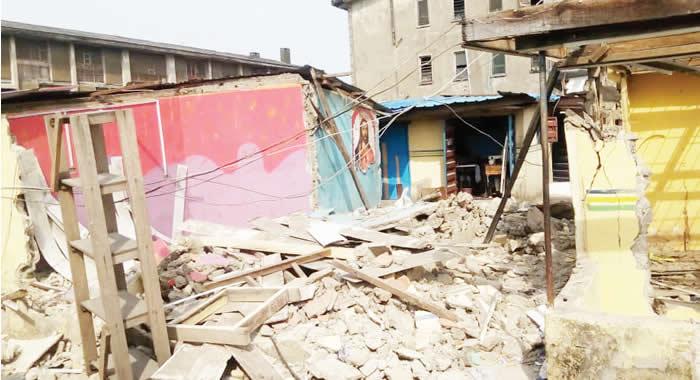 The demolished shop