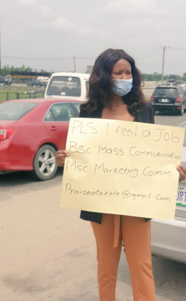 Lady Who Searched For A Job With Placard Finally Gets A Job (Before & After Photos)