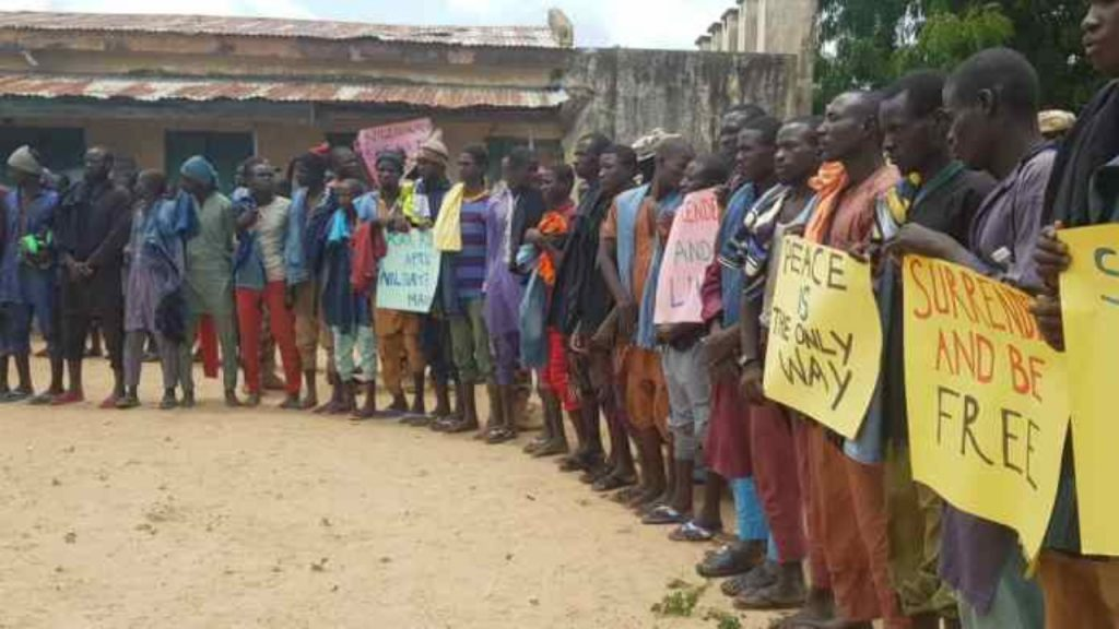 Boko Haram members who surrendered to the army