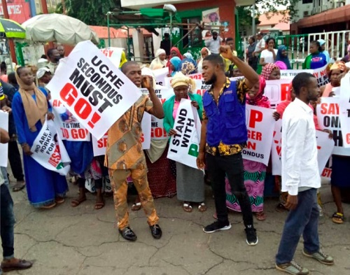 PDP members protest in Abuja against Uche Secondus