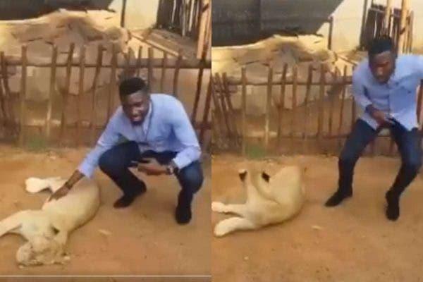 Timi Dakolo posing with a Lion