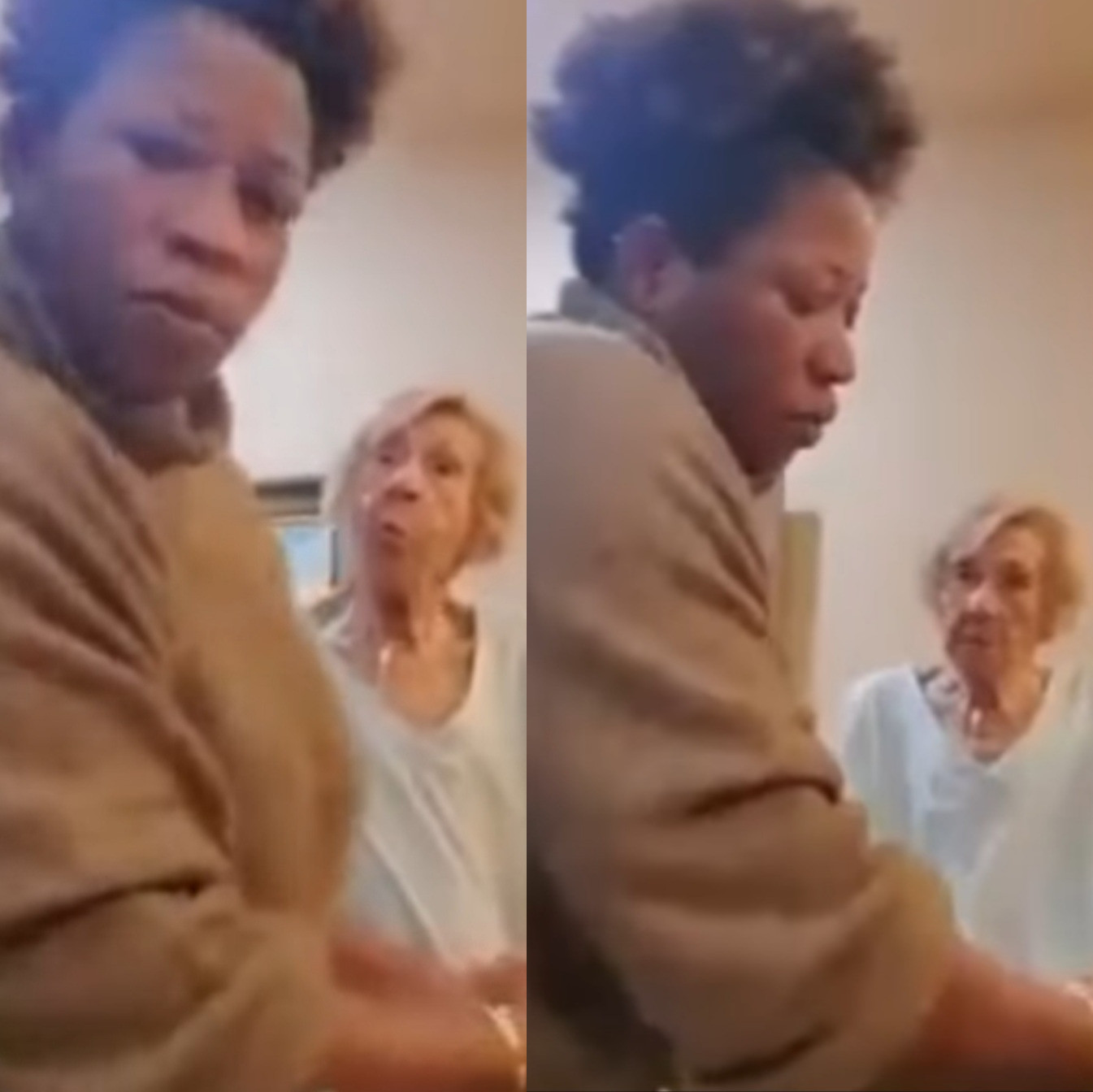 White woman spits are black caregiver