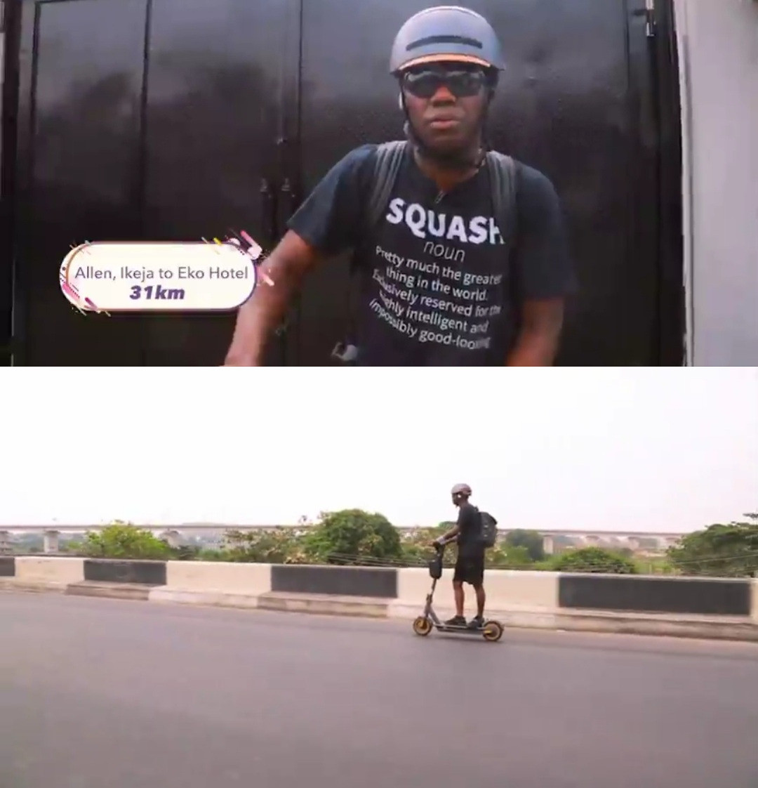 Ayo rides electric scooter from Ikeja to VI