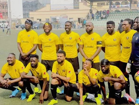 Davido Tackles Laycon, Zlatan Others As Top Music Stars Storm Lagos For Epic Football Match (Photos)