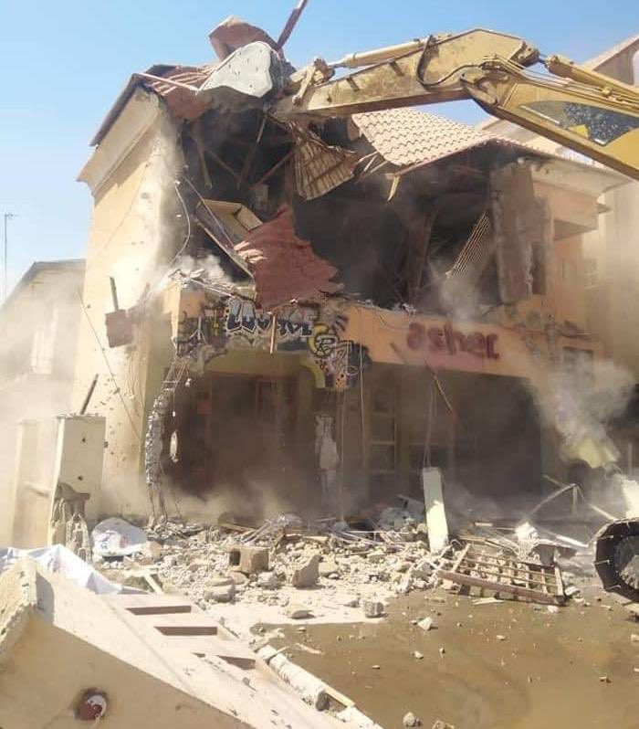 The demolished building in Kaduna