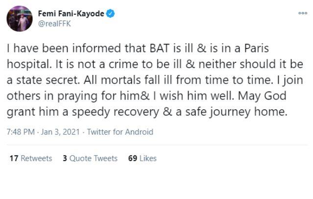 FFK Insists Bola Ahmed Tinubu Is Sick And Hospitalised