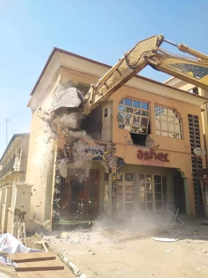 The demolished building