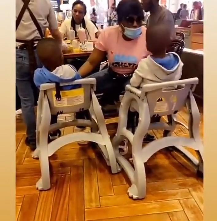 Funke and her sons in Dubai