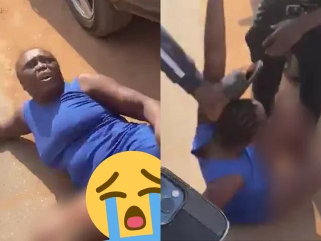 The lady beaten mercilessly