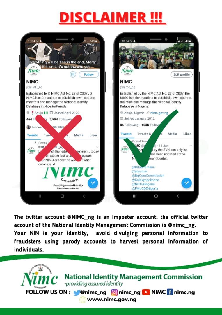 Fake NIMC twitter account