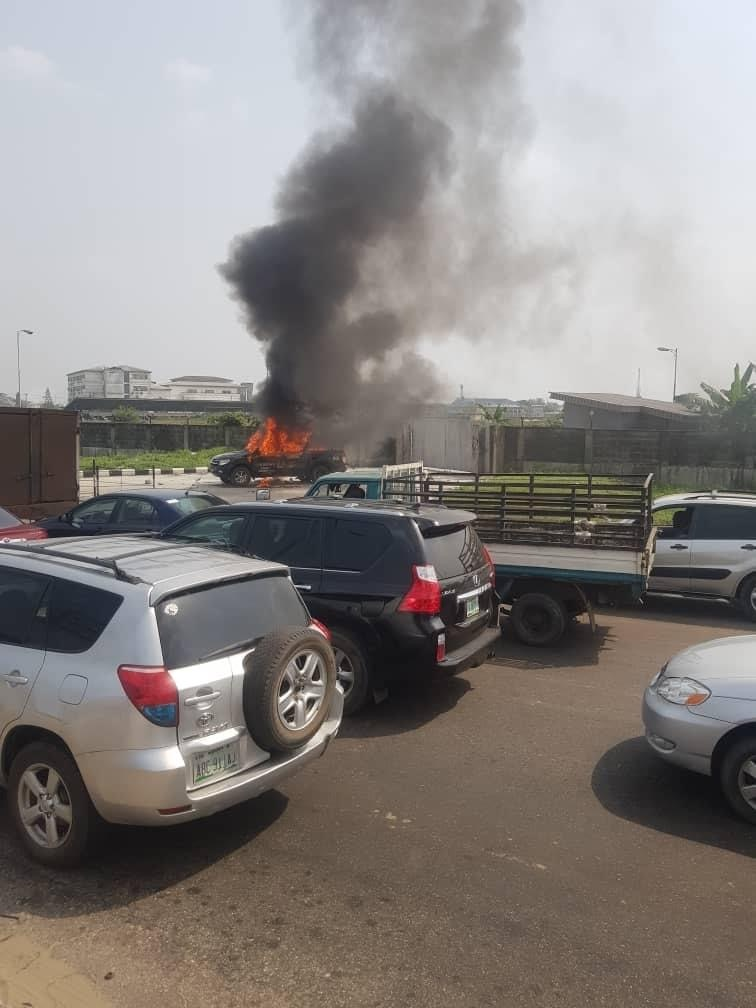 The police van burnt by an angry mob