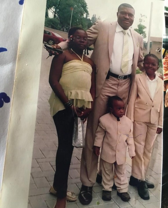Kanayo shared the throwback photo with his children