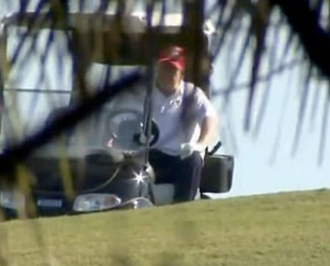 Donald Trump spotted playing golf after leaving office