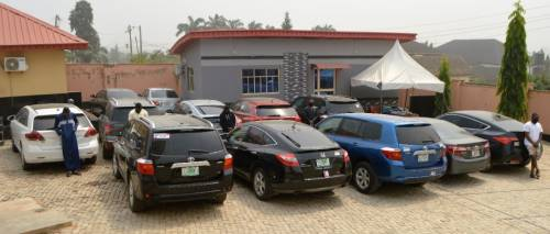 Cars recovered from yahoo boys in Oyo