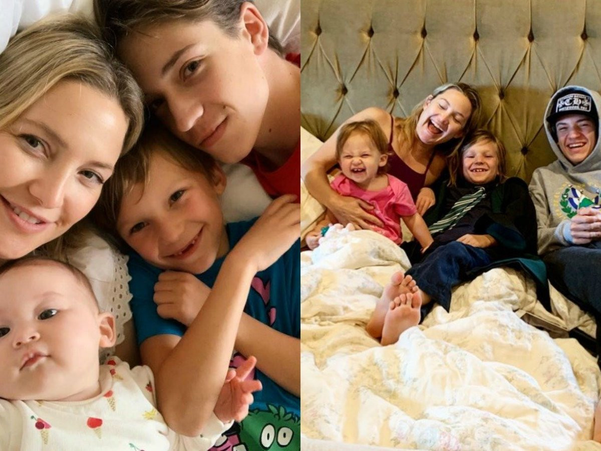 Kate Hudson and her children from three different fathers