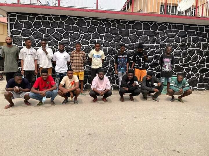 The suspected internet fraudsters arrested in Lagos