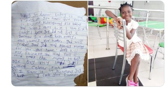 The little wrote a touching letter to her dad