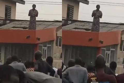 The woman mysteriously landed on top of a building in Lagos