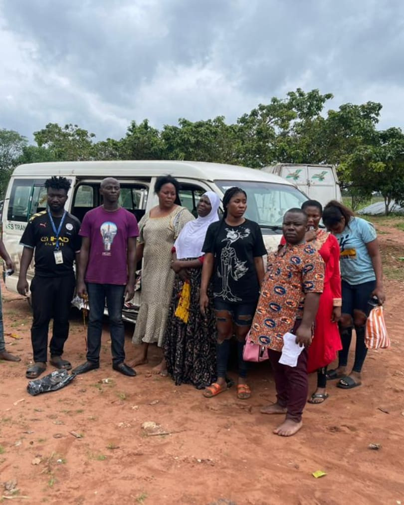 The victims rescued from kidnappers