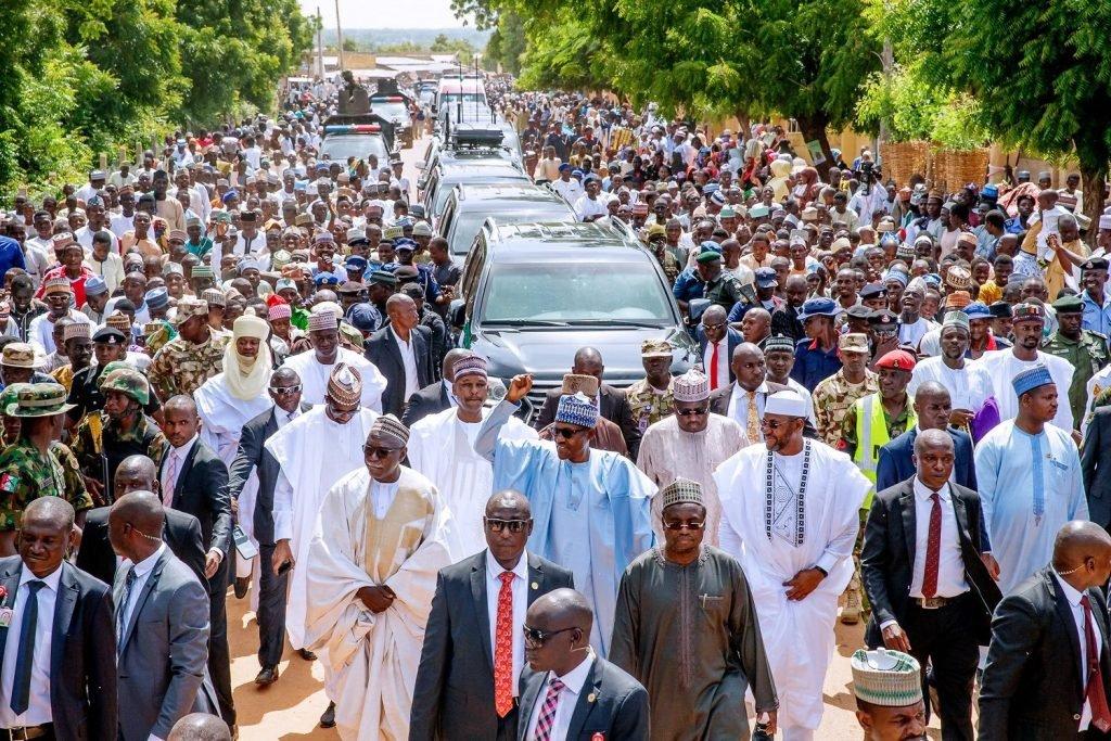 Buhari treks home after Eid prayer