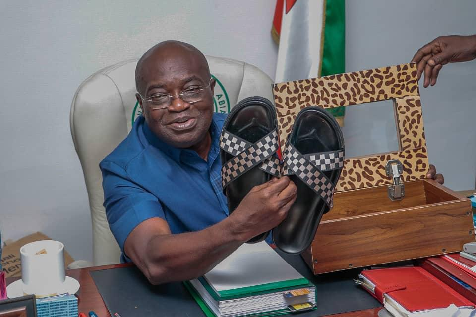 Ikpeazu shows off the sandals he made