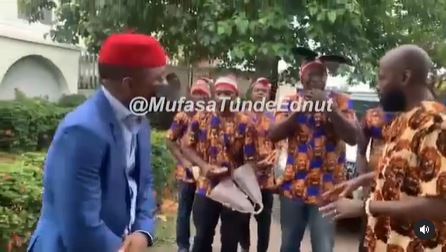 Sowore dancing as Ogene boys play for him