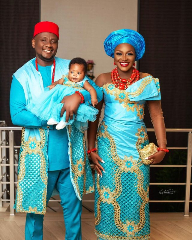 Chacha and husband dedicate their child in church