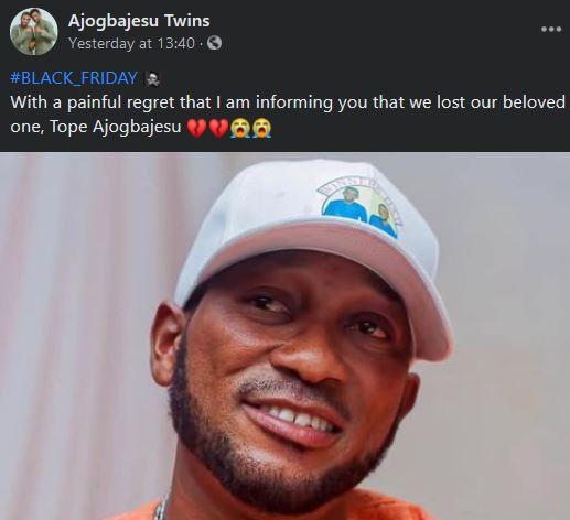 Oh No! Gospel singer, Tope Ajogbajesu Is Dead tope
